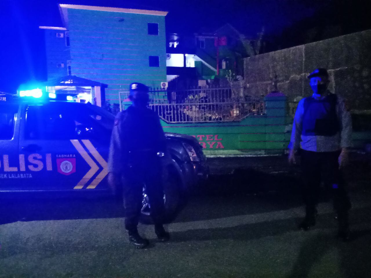 Satuan Samapta Polres Soppeng Giat Patroli Blue Light