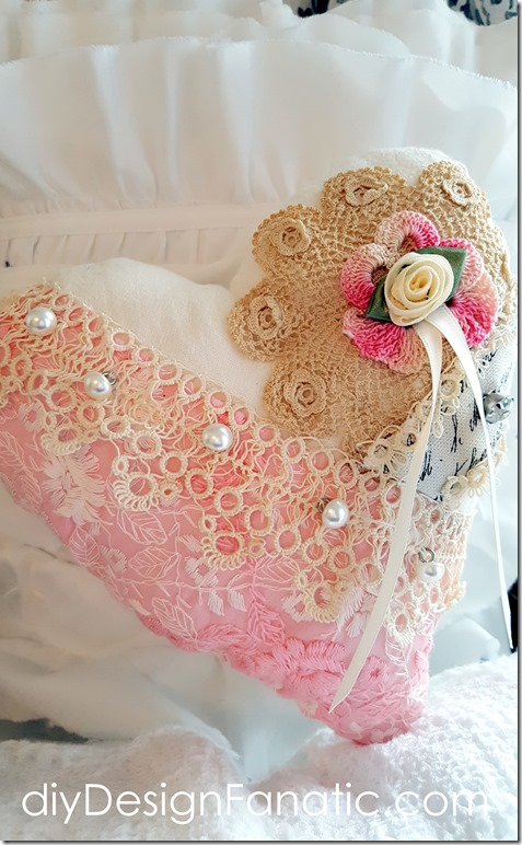 Valentine Heart Pillow, fabric heart, tatting, lace, doily, Valentine's day