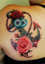 anchor and rose tattoo Ideas 5