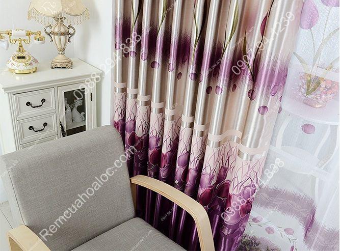 Rèm cửa giá rẻ hà nội họa tiết hoa tulip  16