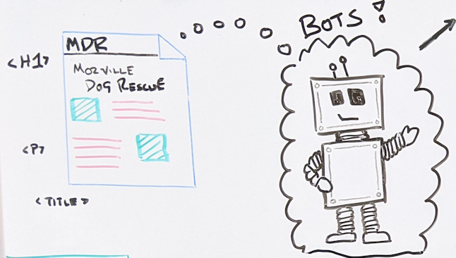 Hand drawing of a web page and a robot.