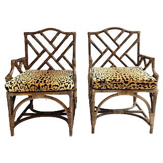 Bamboo & Cane Vintage Armchair Pair