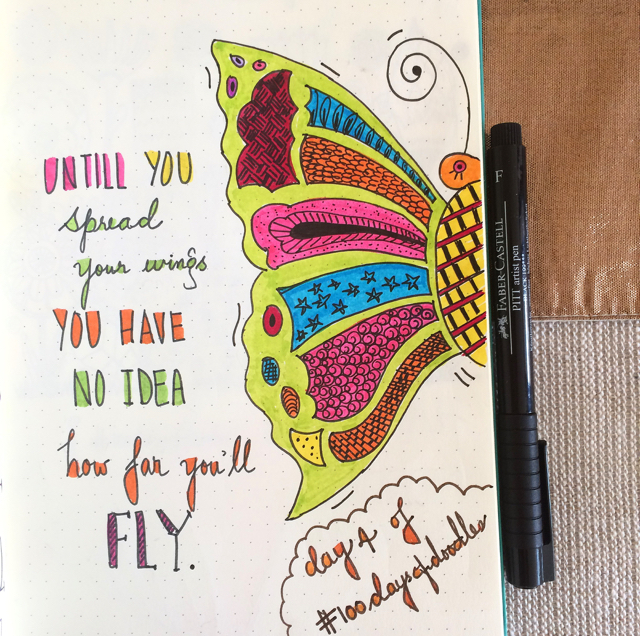 #100DaysOfDoodles | Day 4 | Butterfly Art | The 100 Day Project 2017
