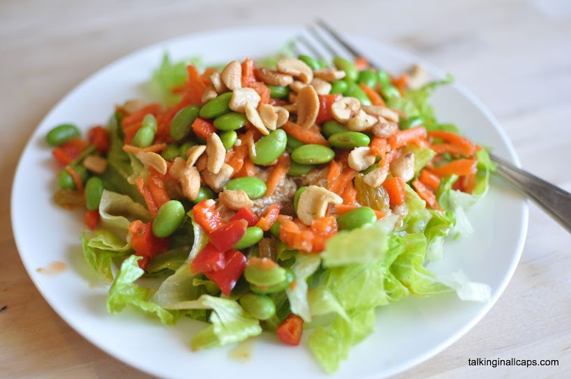 Salad #14 Chicken Edamame Salad with Miso Dressing - Talking in ALL ...
