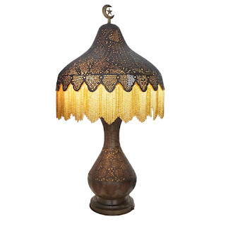 Moroccan Vintage Pierced Brass Table Lamp