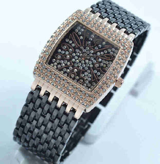 jam tangan Bonia full diamond black chain Rosegold