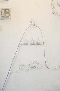 修行僧やブッダのいる山の針金細工(ワイヤークラフト)の壁掛け