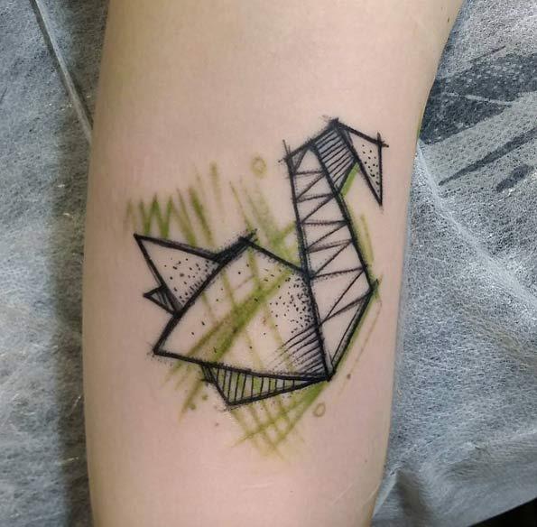 Este esboço estilo origami de cisne
