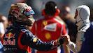 Sebastian Vettel congratulated after pole by Schumacher