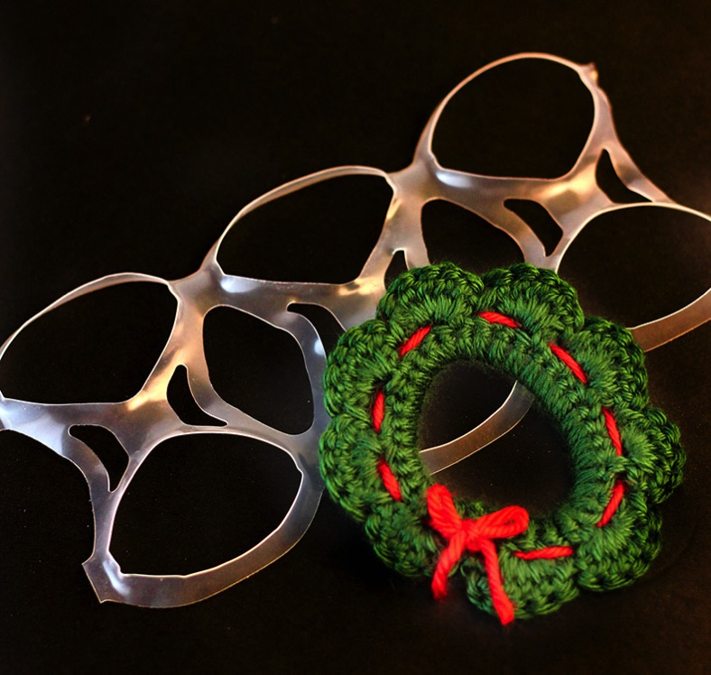 Crocheted Wreath made on plastic soda ring