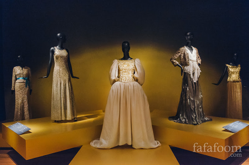 """Evening Wear"" Showcase of Oscar de la Renta: The Retrospective exhibition at de Young Museum, San Francisco."