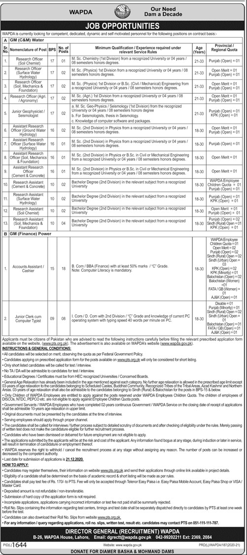 Wapda Jobs 2020 Apply Now