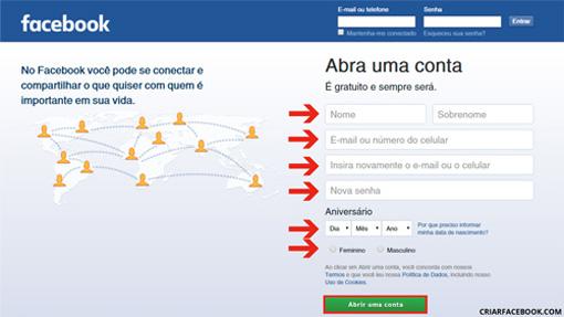 Facebook Entrar Criar Conta