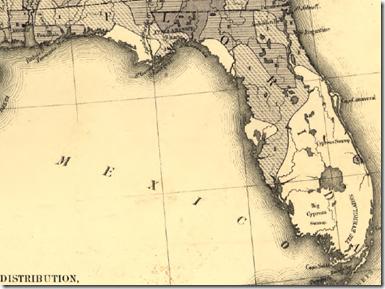 佛罗里达细节从弗朗西斯A.沃克的'S 1870美国人口密度图。