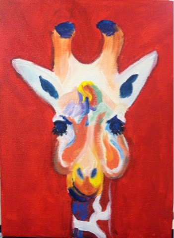 Giraffe on Red inspired by Bob Ransley Original