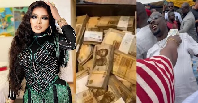 """""""You don't know how much I worth"""" – Bobrisky brags, shows off N3M Cash as he blasts fans mocking him for missing Obi Cubana's mum's burial in Oba (video)"""