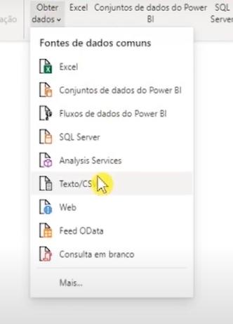 """Como abrir seus arquivos no Power Bi: aba de """"Obter Dados"""" com o mouse em cima da opção Texto/CSV"""