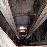 Looking down the Shot Tower's center from the 13th level (approx 145 feet up)