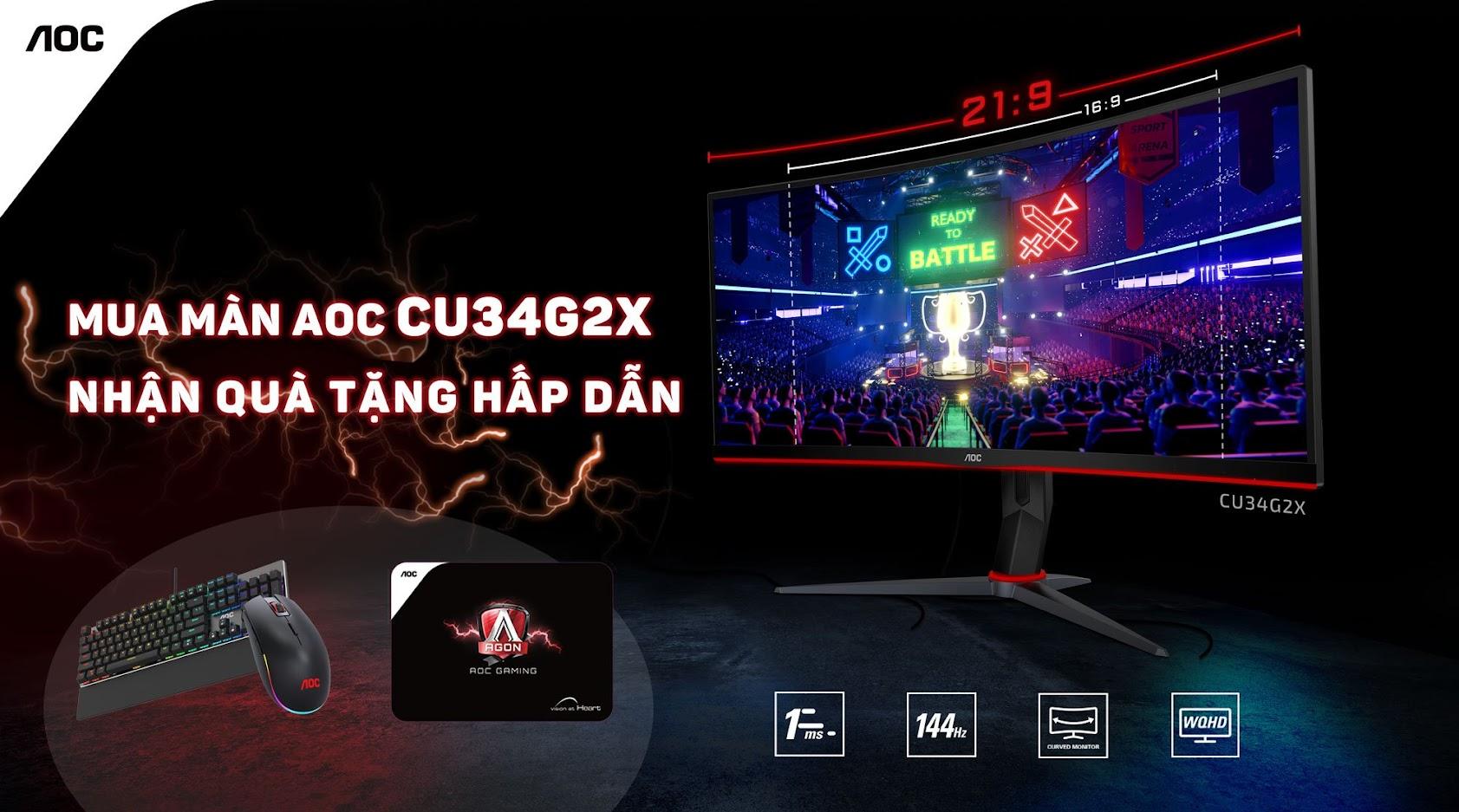 Màn hình chuẩn Cinema 21:9 - AOC CU34G2X