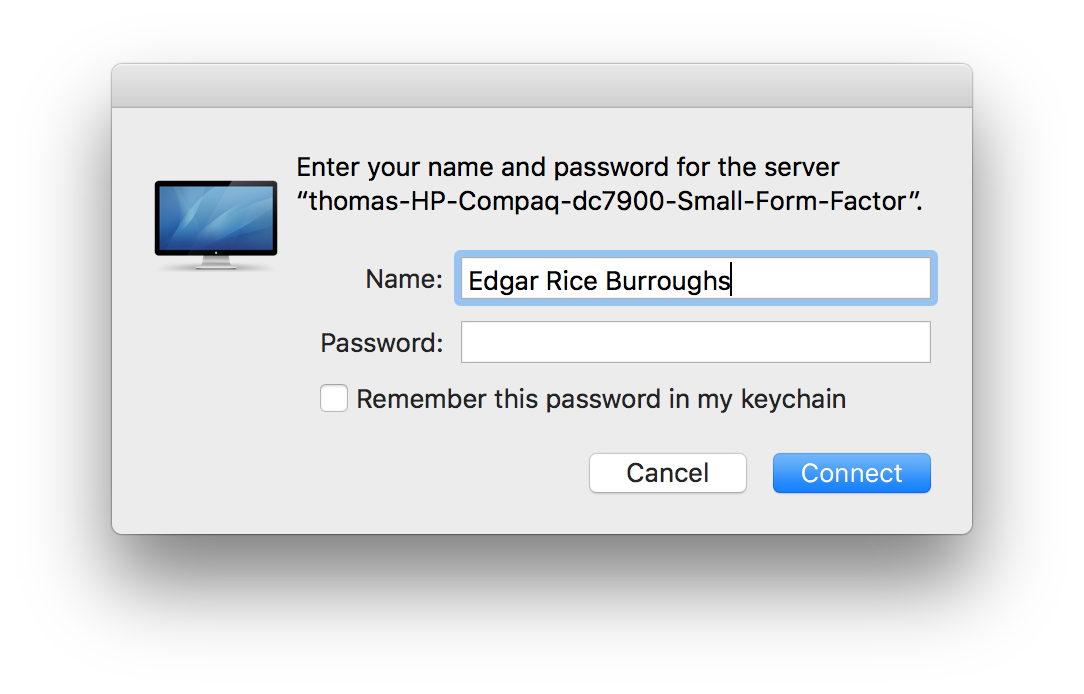 84 oops can t use Mac login credentials