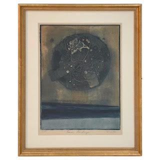 Signed  'Lunar Landscape' Aquatint Etching 1969