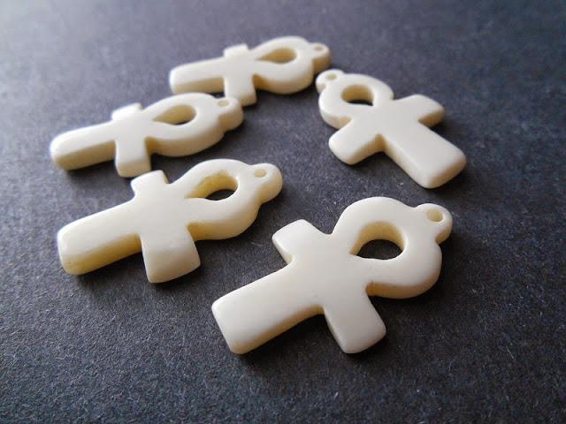 Carved Bone Ankh Pendants