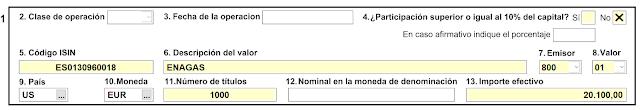 Ejemplo de formulario D6 para un valor español depositado en Interactive Brokers