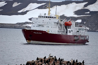 Photo: Our ship -- being met by a greeting party!