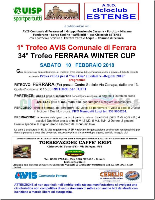 MTB FERRARA PARCO URBANO Trofeo AVIS sab 10 FEBBRAIO 2018