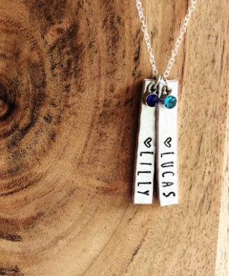 Hand-stamped hammered bar necklace with birthstones