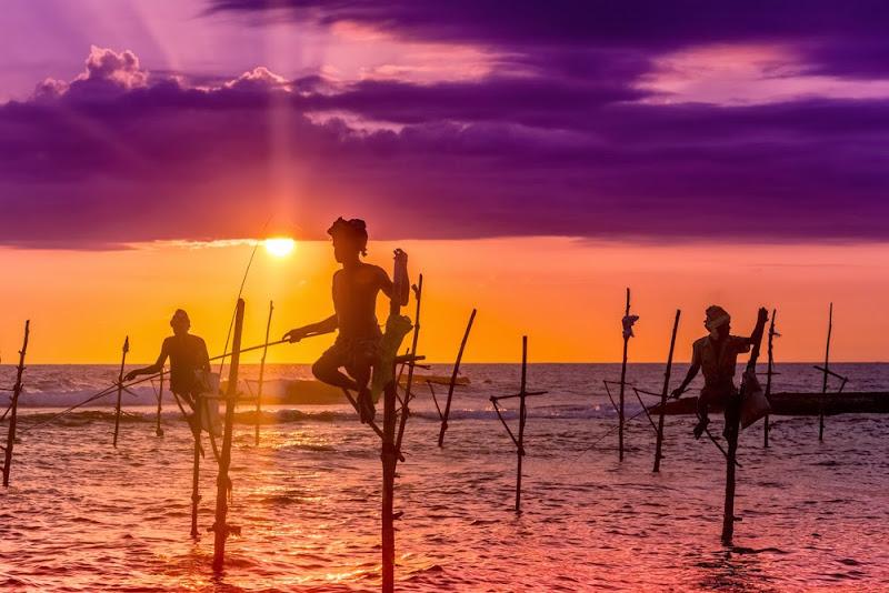 Fishermen of Kalpitiya stilt fishing