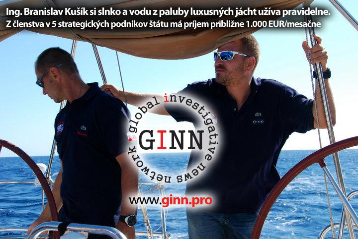 Branislav Kušík na jachte s priateľom