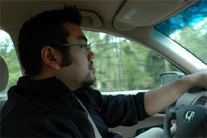Photo of me driving in my Honda on the way to Cape Alava. Photo taken on April 27, 2007 and courtesy of Kelli Larsen.