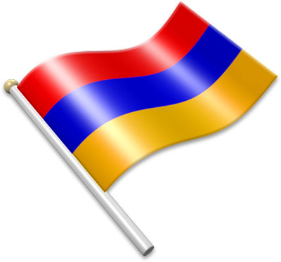 The Armenian flag on a flagpole clipart image