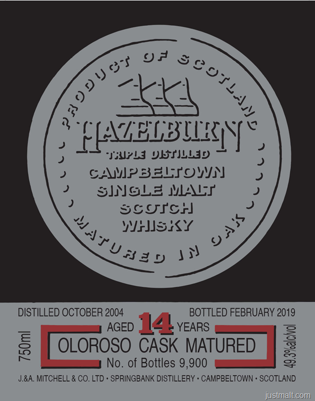 Hazelbury Campbeltown Single Malt Scotch Whiskey 14-Year Oloroso Cask