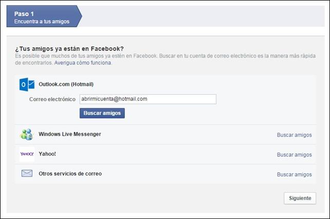 Buscar amigos para Facebook desde tus correos electrónicos
