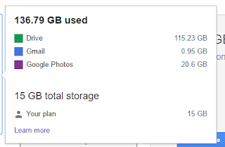 Google drive space not updating