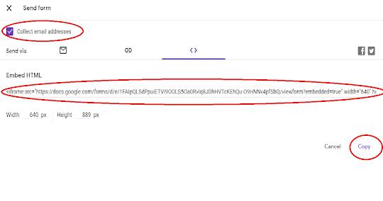 embed google form in website