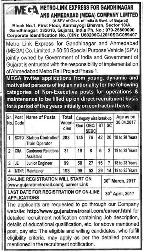 Gujarat Metro Rail Recruitment 2017; 600 Vacancies to be Filled