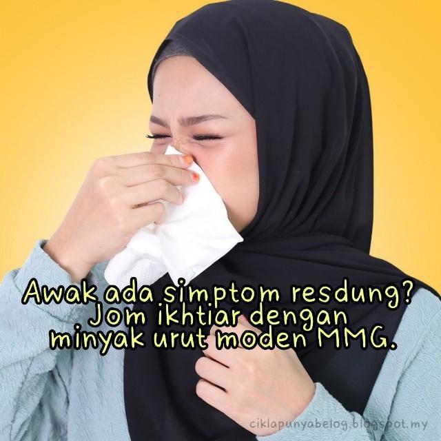 Awak ada simptom resdung? Jom ikhtiar dengan minyak urut moden MMG.