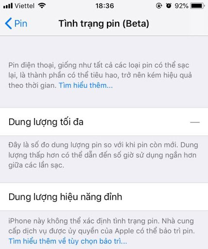kiểm tra pin iphone ios 11.3