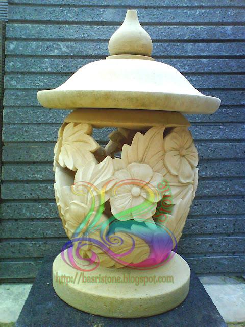 Lampion batu alam motif bunga sepatu kerajinan batu alam