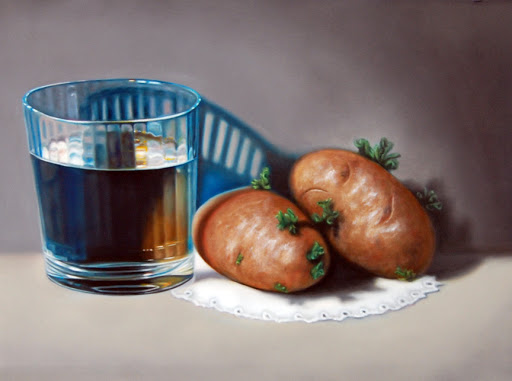"Glass of Water and Two Potatoes 12"" by 16"" oil on panel. Artist Judy Prisoc"
