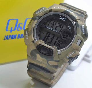 jam tangan Q&Q M132J005Y brown doreng rubber