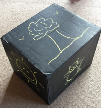 Sun Hats   Wellie Boots  When is a box not a box  when it s a chalkboard 22358fa2400c