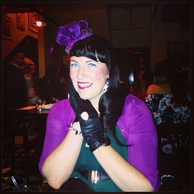 Bridget Eileen in Purple and Green for a Kentucky Derby Party Plus Size Vintage Style Outfit