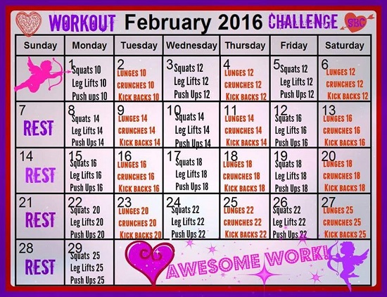 February Fitness Challenge Intermediate Workout Calendar