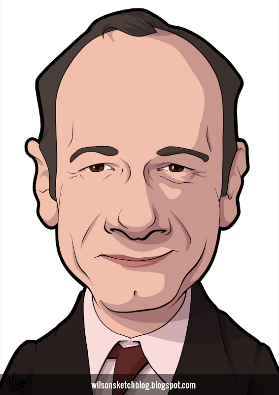 Cartoon caricature of Kevin Spacey.