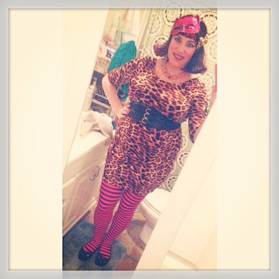 Bridget Eileen plus size pin up costume idea sexy bbw kitty costume with leopard print bodycon dress