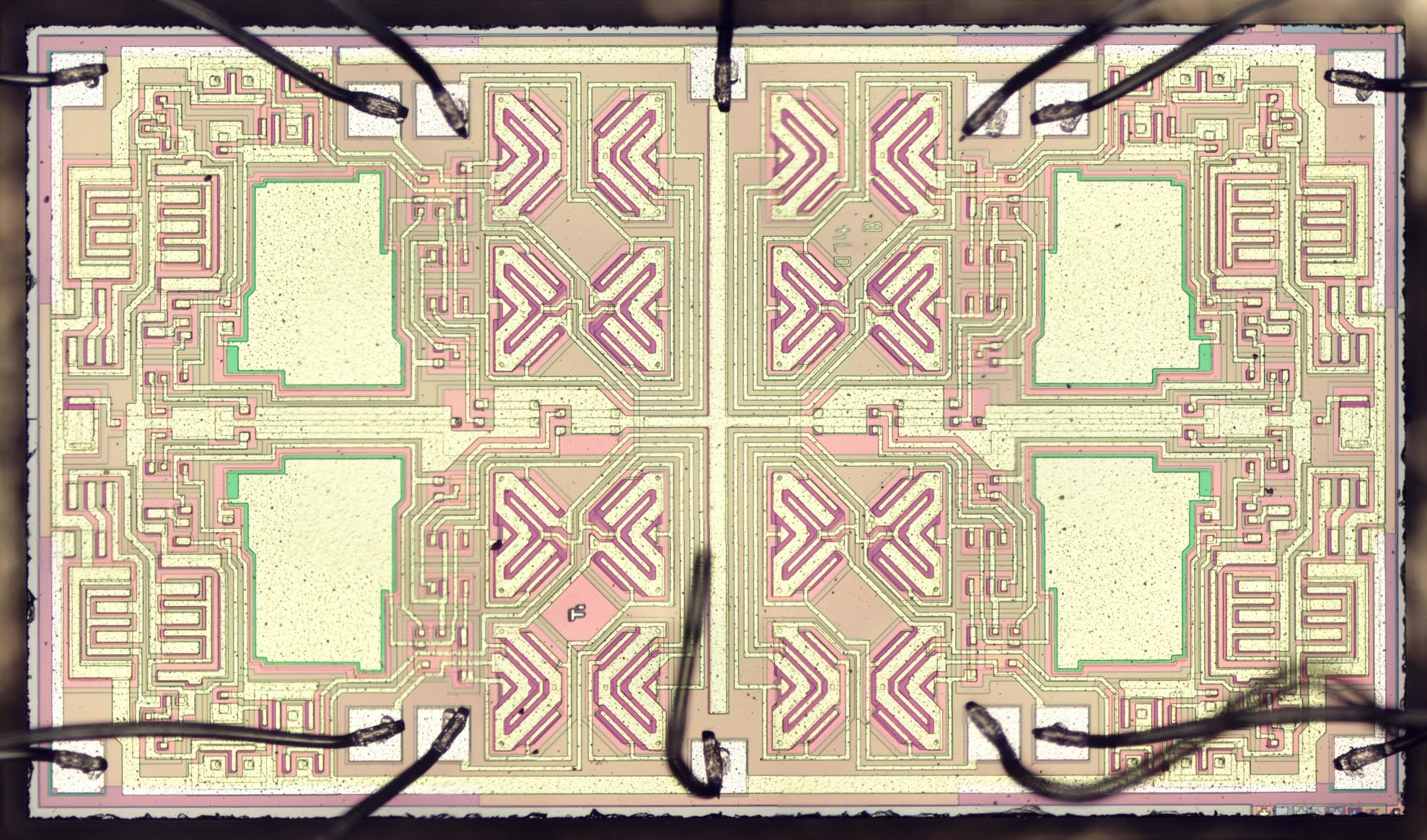 Silicon Die Analysis Inside An Op Amp With Interesting Butterfly Solving Circuit Photo Of The Tl084 Quad Bond Wires Got A Bit Bent